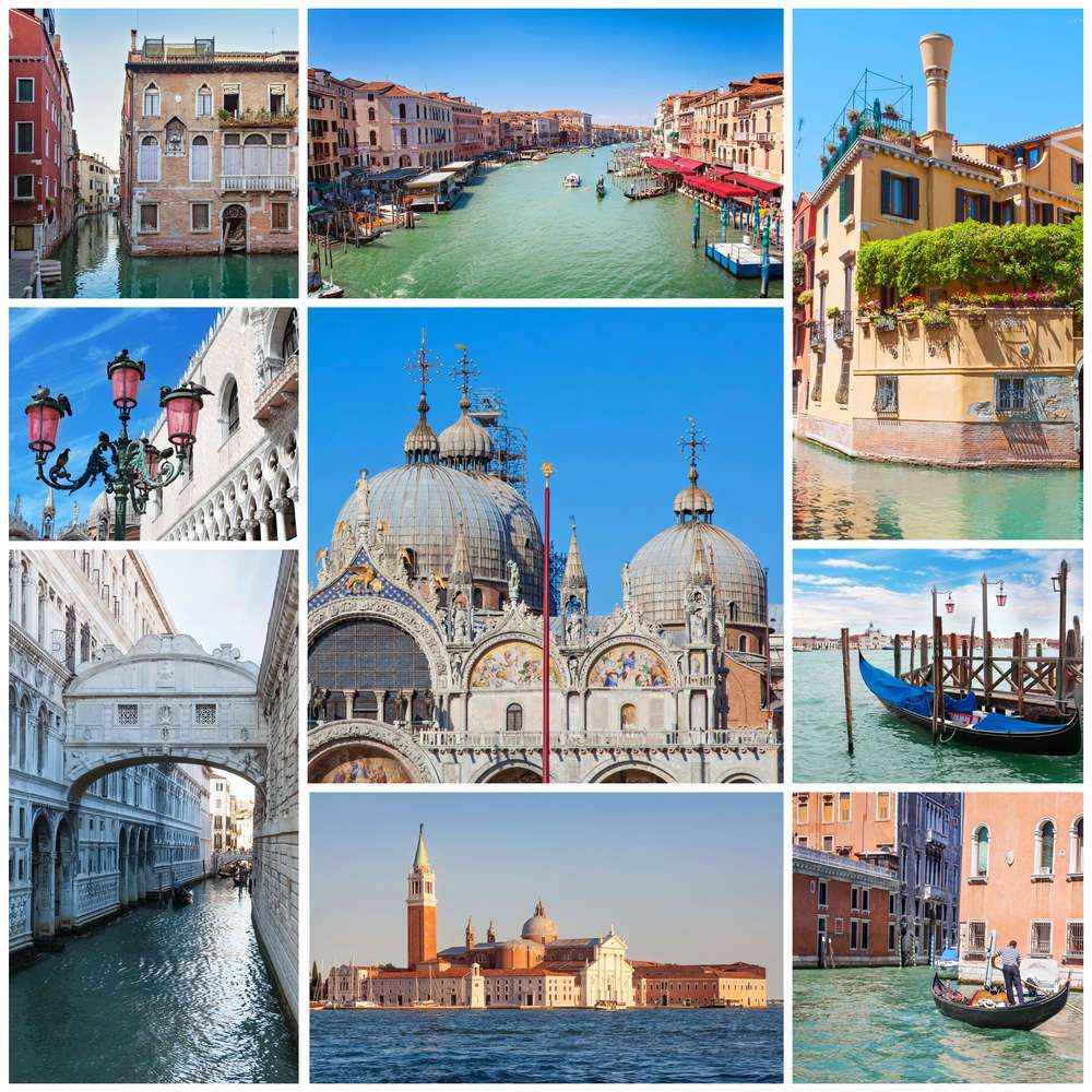 Collage of images with Venice, Italy.