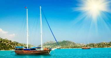 Bay and fun sun at mediterranean sea with yachts in the Kekova. Turkey