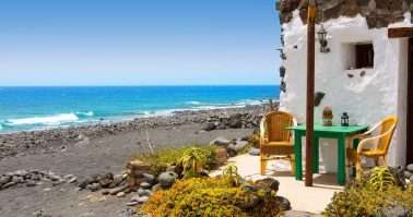 El Golfo in Lanzarote white houses facades at Canary Islands