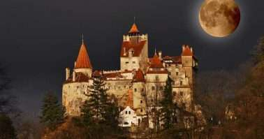 Bran Castle - Count Dracula's Castle on full moon, Transylvania, Romania