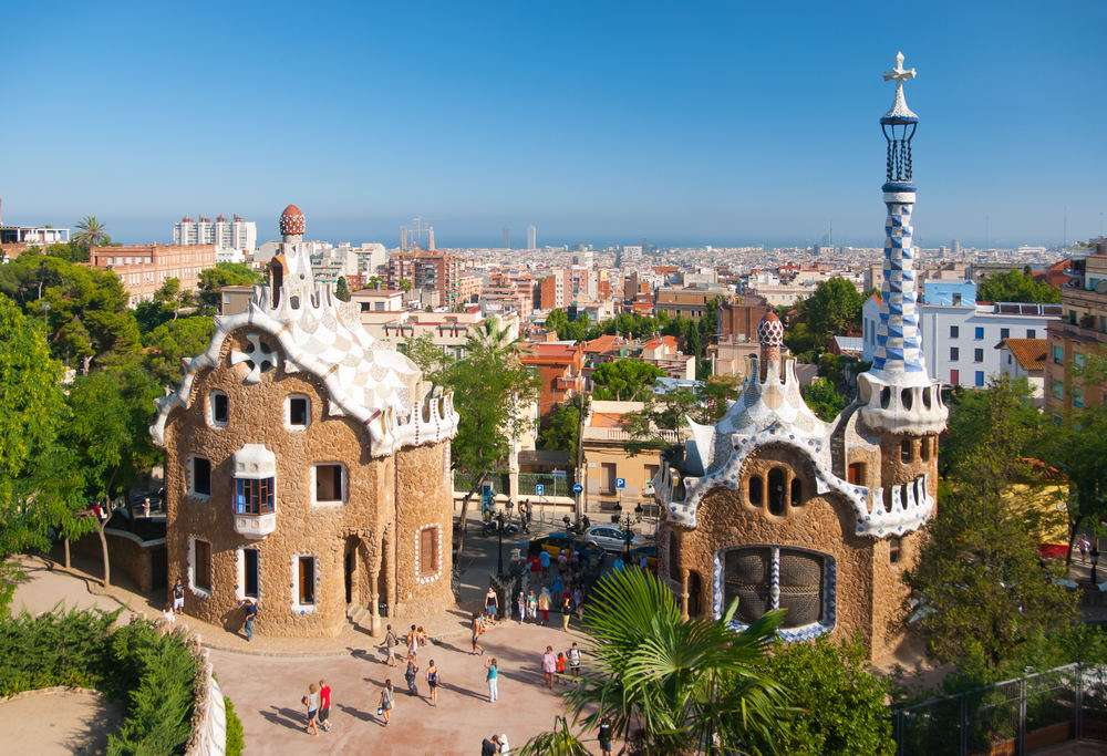 BARCELONA, SPAIN - AUGUST 26: The famous Park Guell on August26, 2010 in Barcelona, Spain. The impressive and famous park was designed by Antoni Gaudi.