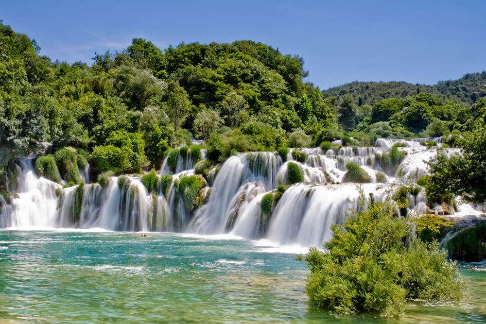 Landscape of a waterfall in Krka national park in Croatia