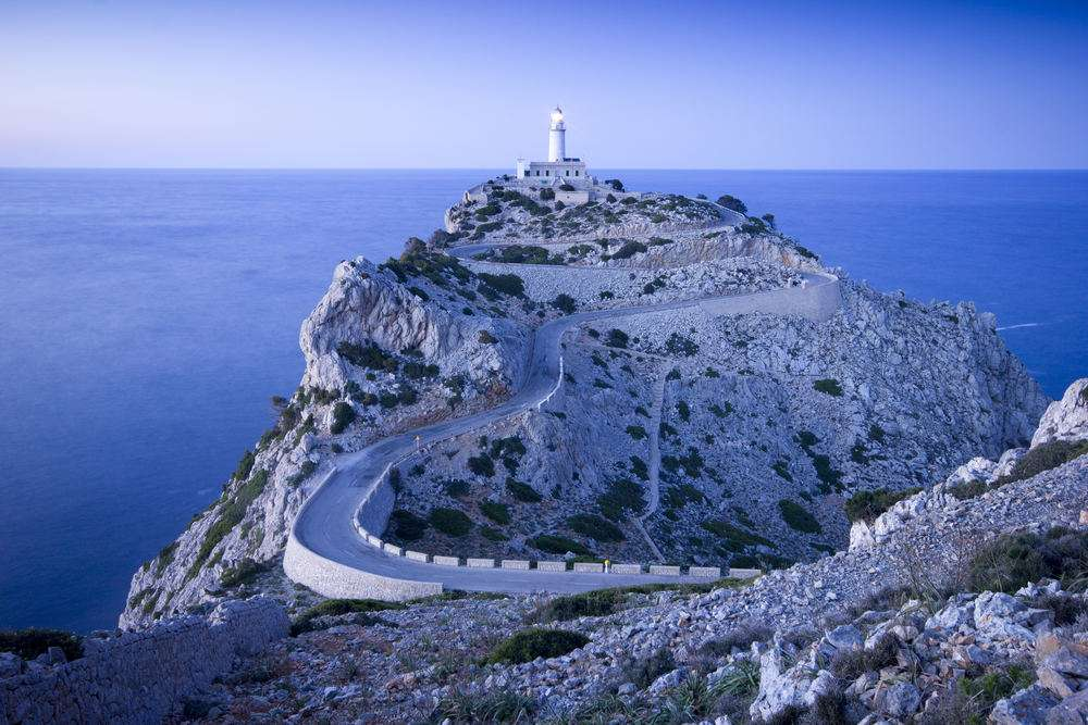 Lighthouse at Cap de Formentor on Majorca when dusk is falling.