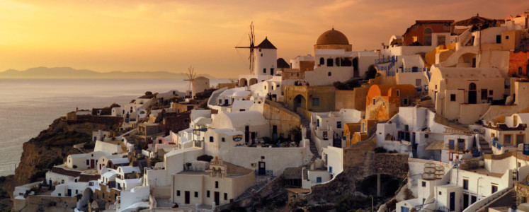 The beautiful and uniue village of Oia on the Greek island of Santorini, photographed during a majestic late afternoon